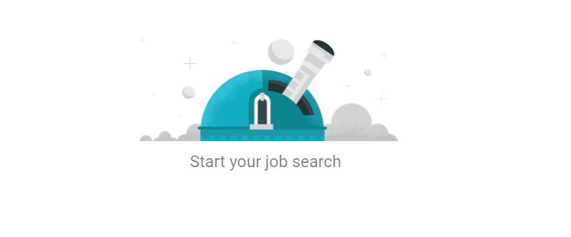 imagem meramente ilustrativa de um telescópio em azul e cinza indicando a busca por vagas de emprego