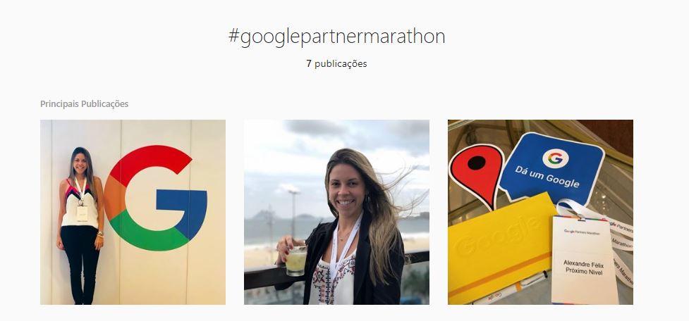 São três fotos de uma participante do Google Partners Marathon no Rio de Janeiro