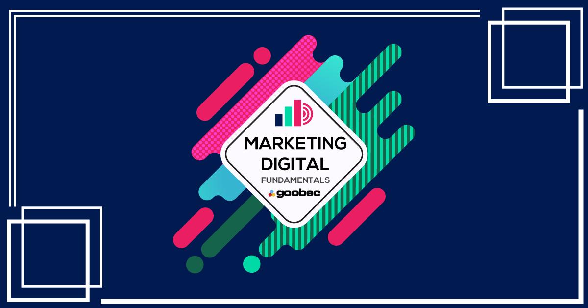 banner do cursos de Marketing Digital. Cor de fundo azul e detalhes em rosa.
