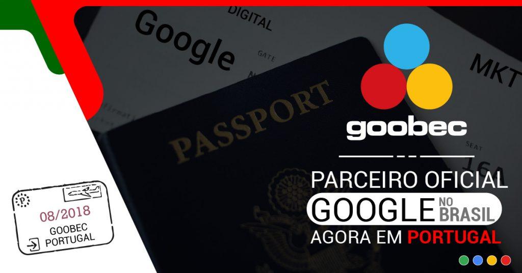 banner de lançamento da Goobec Portugal. Ele tem ao fundo a imagem de um passaporte. Texto: Goobec, parceira oficial Google no Brasil, agora em Portugal