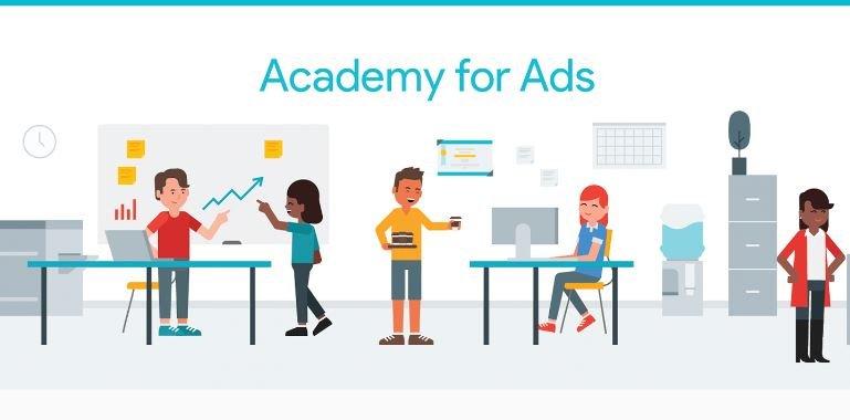 banner do Academy for Ads, um site do Google onde você encontra os treinamentos e as provas para a fazer a certificação Google Partners. O banner tem o fundo na cor branca. Como pano de fundo, como cenário, há o desenho de um escritório. Nele, há 5 bonequinhos trabalhando com muito animação