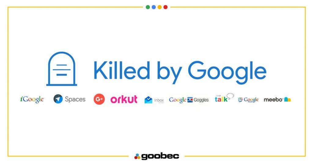 Peça com o enunciado: Killed by Google os projetos enterrados pelo Google. Fazem parte da imagem os logos do igoogle, spaces, google+, orkut, inbox, google googles, googletalks, google e meebo