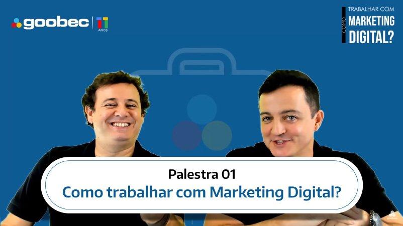 Rodrigo Camara e Joao Dalla durante a palestra onlin Como trabalhar com Marketing Digital.