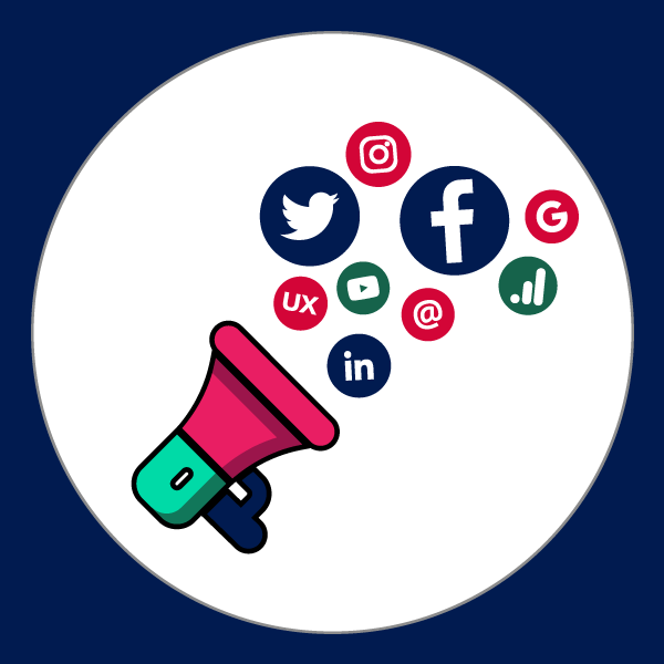 ícone do curso de marketing digital com os logos do facebook, linkedin, pinterest, facebook e instagram