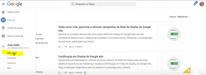 Parte 5 do  Passo a passo para deixar publico seu perfil no skillshop do Google.