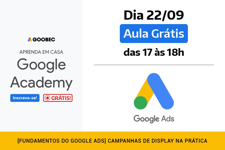 banner de divulgação da aula Grátis no Google Academy de Rede de Display do Google